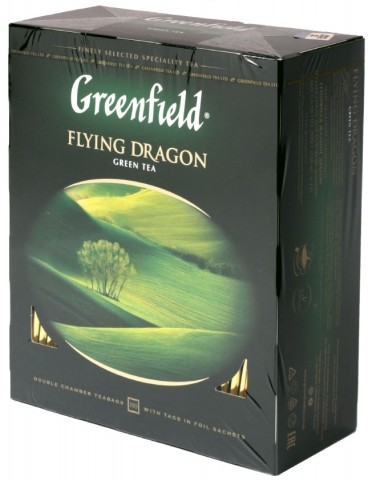 Чай Greenfield 200 г, 100 пакетиков, Flying Dragon, зеленый чай